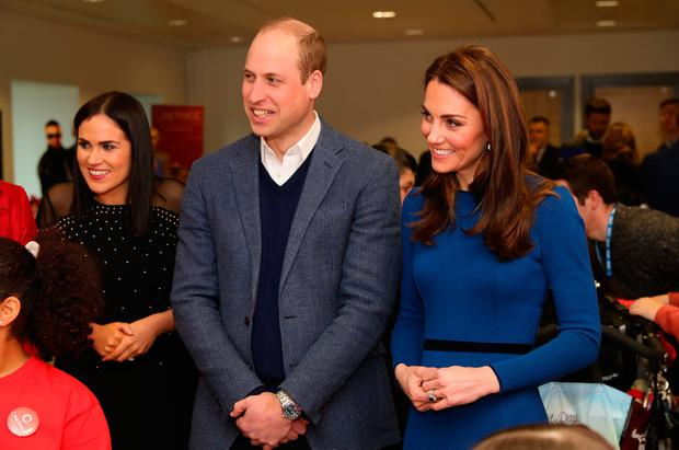 The Duke and Duchess of Cambridge during their visit to the Braids Arts Centre in Ballymena to see the workings of the CineMagic charity as part of their two day visit to Northern Ireland. Aaron Chown/PA Wire
