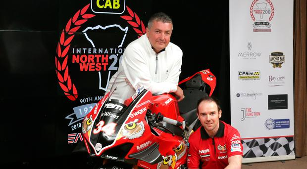 Alastair Seeley (right) with the PBM/Be Wiser Ducati he will ride at the 2019 fonaCAB International North West 200 and team boss Paul Bird