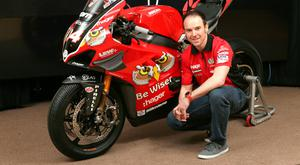Revved-up: Alastair Seeley at last night's launch with the powerful Ducati V4R in Coleraine