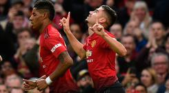 Manchester United's Belgian-born Brazilian midfielder Andreas Pereira celebrates his first ever Premier League goal.
