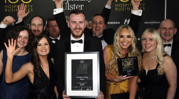 Wednesday 27th February 2019, Titanic Belfast: Pictured: Team from The Northern Whig, Belfast at Hospitality Ulster's Top 100 Hospitality Business Awards at Titanic Belfast.