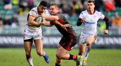 Robert Baloucoune in action for Ulster against the Dragons (Alex Davidson/INPHO)