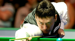 Just champion: Jimmy White on his way to winning the 6 Reds Championship title in Belfast