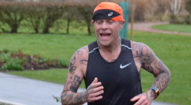 Keith Flint taking part in a 5k run at Central Park in Chelmsford, Essex (Neil Churchill/Chelmsford Parkrun/PA)