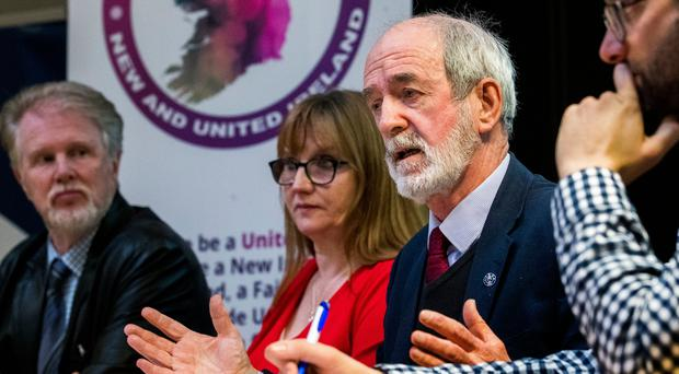 From left: Christy McQuillan, former Siptu divisional organiser, Debbie Coyle, senior trade union officer, Mick Halpenny, former Siptu senior official, and Ruairi Creaney, group spokesman and trade union official, during a launch event for Trade Unionists for a New and United Ireland in Belfast last month