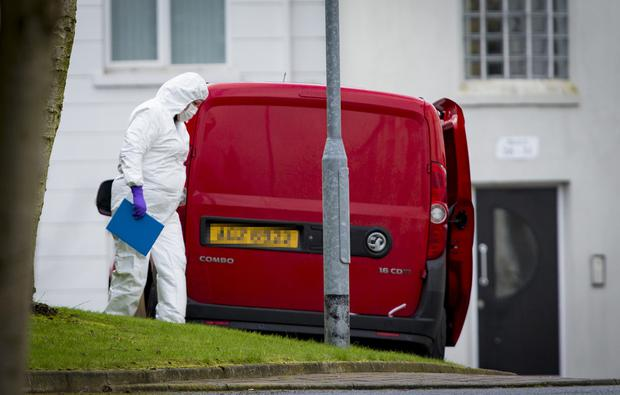 Police at the scene of an incident in the Glin Ree Court area of Newry where three bodies have been discovered on March 7th 2019 (Photo by Kevin Scott / INM)
