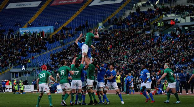 Off colour: Ireland's lineout against Italy
