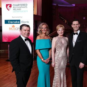 Press Eye - Belfast - Northern Ireland - 7th March 2019 - Barry Smyth, MCS Group; Zara Duffy, Head of Chartered Accountants N. Ireland, Dr Janet Gray MBE, Guest Speaker; Niall Harkin, Chairman, Chartered Accountants Ulster Society and Rory Clarke, Danske Bank pictured at the Chartered Accountants Ulster Society Annual Dinner, sponsored by Danske Bank and MCS Group at Titanic Belfast Photo by Kelvin Boyes / Press Eye