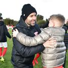Larne manager Tiernan Lynch celebrates winning promotion. Photo Colm lenaghan/Pacemaker Press