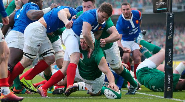 First and last: Rory Best touches down for Ireland's opening try on his final Six Nations match in Dublin