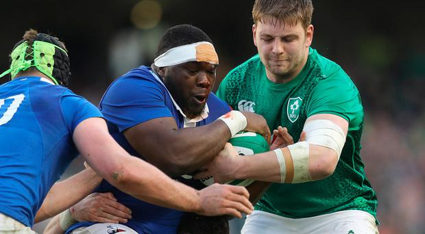 Ireland's Iain Henderson (right) and France's Demba Bamba.