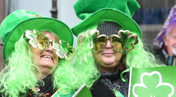 Crowds gather for the St Patrick's day Parade in Belfast City Centre. Pic Colm Lenaghan/Pacemaker