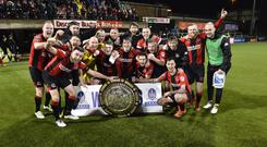 Crusaders celebrate with the County Antrim Shield.