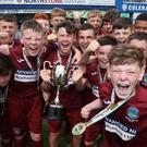 Greenisland celebrate victory during the SuperCupNI Minor Final at Coleraine Showgrounds. Picture by Brian Little/PressEye