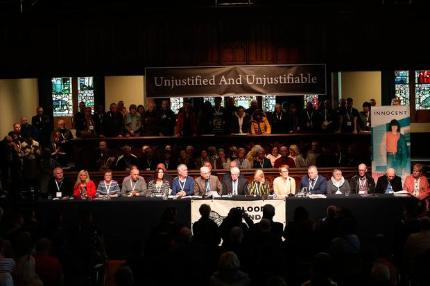 Families of those who were killed hold a press conference inside the Guildhall in Londonderry after the Public Prosecution Service announced that one solider will face prosecution for the murders of James Wray and William McKinney and the attempted murders of Joseph Friel, Michael Quinn, Joe Mahon and Patrick O'Donnell on Bloody Sunday in the city in January 1972.