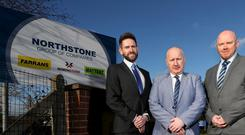 Pictured at Northstone's head office in Dunmurry is Peter Gilgunn, Account Director at BT Enterprise in Northern Ireland, Harry Ritchie, IT Manager at Northstone and Barry Hughes, Enterprise Architect at BT Enterprise in Northern Ireland.