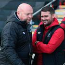 Glory chase: David Healy (right) hopes to pip David Jeffrey's Ballymena United to the title