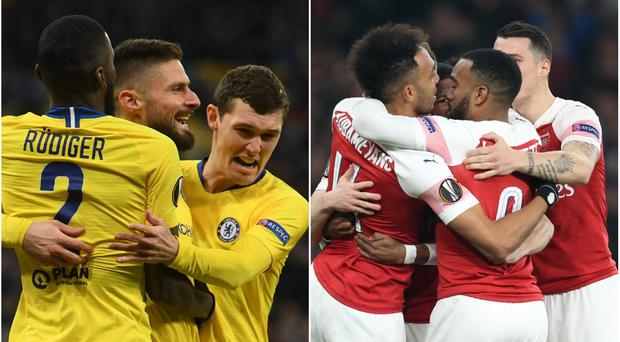 Chelsea and Arsenal are both in the quarter-finals of the Europa League.