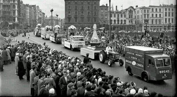 Common ground: Thousands of people line the streets in Dublin for the annual St Patrick's Day parade in the 1960s