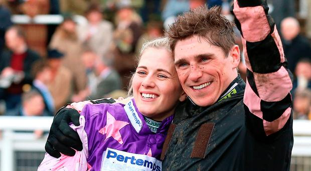 Tops: Harry Skelton celebrates with partner Bridget Andrews