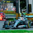 Out in front: Mercedes' Lewis Hamilton set the pace in practice
