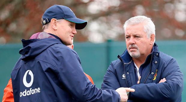 All change: Joe Schmidt and Warren Gatland will take charge of Ireland and Wales respectively in the Six Nations for the last time