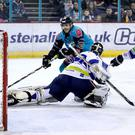 Belfast Giants' Patrick Dwyer with Coventry Blaze's Matt Hackett (William Cherry/Presseye)