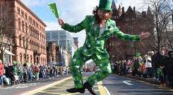 Pacemaker Press 17/03/2019 Thousands line the Streets of Belfast on Sunday to celebrate the St Patrick's day. The Parade set off from Belfast City hall Hall to Writers square , with a a Concert at Custom House square. Pic Colm Lenaghan/Pacemaker