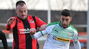 Cliftonville striker Joe Gormley (right) with Crusaders' Kyle Owens on Saturday