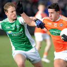 Tussle: Armagh's Stefan Campbell and Fermanagh's Lee Cullen