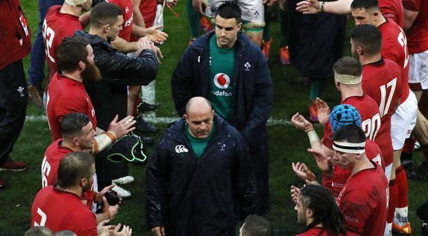 Ireland's Rory Best leaves the field after his final Six Nations appearance.