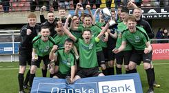 St Malachy's celebrate winning the Danske Bank NI Schools' Cup at Seaview