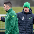 In charge: Mick McCarthy takes Republic of Ireland training ahead of the opening Euro 2020 qualifier in Gibraltar