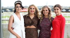 Emma Lynas, Claire-Rose Canavan, Roisin Morgan and Holly Millar pictured at the St Patrick's Day race meeting at Down Royal Racecourse. Photo by Kelvin Boyes / Press Eye
