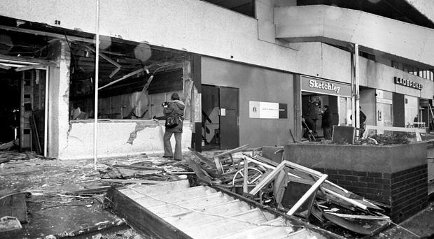 Devastation at the scene of the fatal IRA bomb blast at the Mulberry Bush pub in Birmingham on November 21, 1974. Ten of the 21 people who died in the notorious pub bombings were at this venue