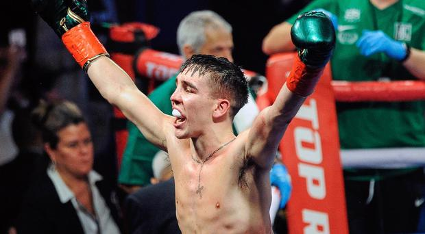 Triumphant: Michael Conlan after his victory over Ruben Garcia Hernandez at Madison Square Garden on St Patrick's Day