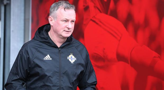 Northern Ireland manager Michael O'Neill during training at the National Football Stadium, Windsor Park. Picture by Brian Little/PressEye