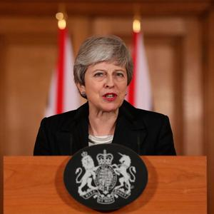 Prime Minister Theresa May making a statement about Brexit in Downing Street, London. Photo credit: Jonathan Brady/PA Wire