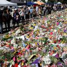 Floral tributes in Christchurch following the mosque shootings last week