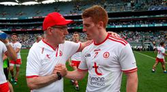 On song: Peter Harte's skills as a playmaker could help take his uncle Mickey Harte (left) and Tyrone into the league decider