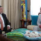 The Prince of Wales with Prime Minister of St Vincent and the Grenadines Ralph Gonsalves (Jane Barlow/PA)