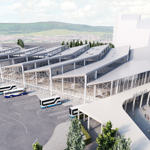 Artist impression of the new Belfast Transport Hub which will be situated on Translink property near the current Europa Buscentre and Great Victoria Street Stations.
