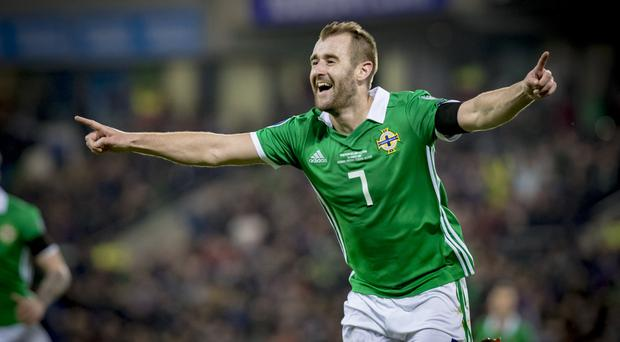 Northern Ireland's Niall McGinn scores in action during the Euro Qualifier at Windsor Park on March 21th 2019 (Photo by Kevin Scott for Belfast Telegraph)