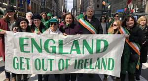 Sinn Fein president Mary Lou McDonald behind the banner in New York on St Patrick's Day