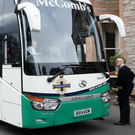 Northern Ireland players leaving the Culloden Hotel for the trip to Windsor Park