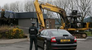 Detectives are investigating the theft of an ATM machine from a bank in Newtownabbey during the early hours of this morning, Friday 22 March. Pic Stephen Davison/Pacemaker