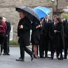 Archbishop Eamon Martin arriving for the the funeral of Morgan Barnard at St Patrick's Church, Dungannon. Pic: Brian Lawless/PA Wire