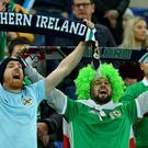 PACEMAKER BELFAST 21/03/2019 Northern Ireland v Estonia Euro 2020 Qualifier Northern Irelands fans during this evenings game at the National Stadium Windsor Park. Photo Alan Weir/Pacemaker Press