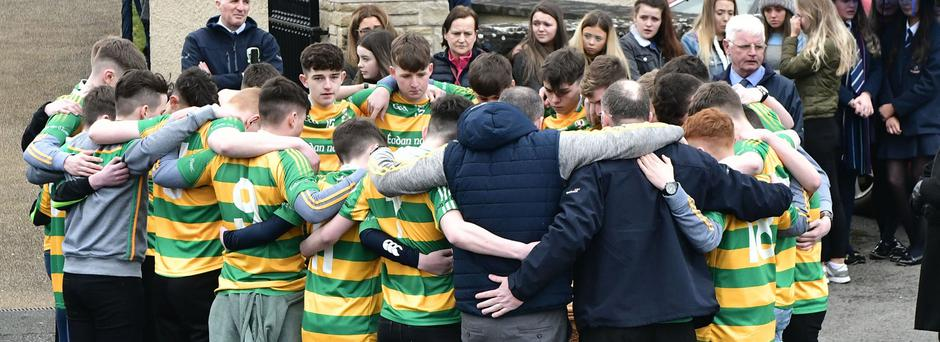 Friends and family of teenager Conor Currie attend his funeral in Edendork. Photo Colm Lenaghan/Pacemaker Press