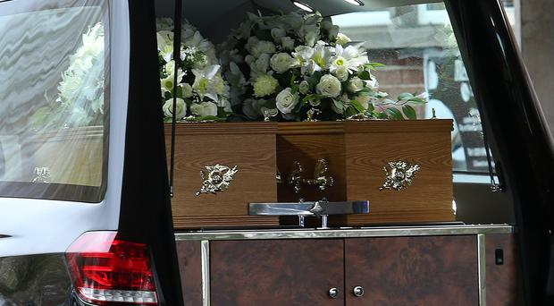 The coffins of Giselle Marimon-Herrera 15-year-old daughter Allison. Pacemaker Belfast.
